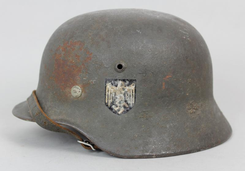 WW2 German Single Decal Named Army Helmet With Thick Grey Woodchip Overpaint